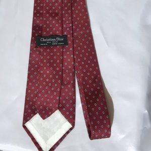 Christian Dior Silk Red with Floral accents Tie